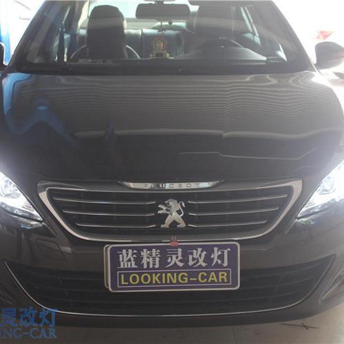 上海车灯改装蓝精灵氙气大灯 标致新408改装双光透镜氙气灯天使眼大灯