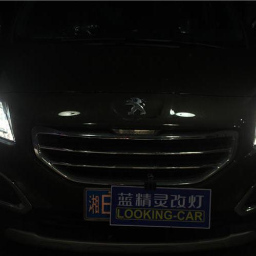 长沙标致3008改灯车灯改装海拉五透镜欧司朗氙气大灯 标致3008改车灯大灯改装 长沙蓝精灵改灯