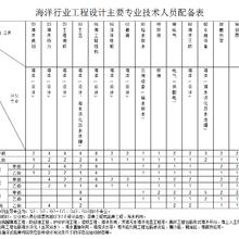 海洋行业工程设计主要人员配备表