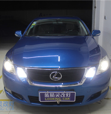 雷克萨斯GS改装海拉五双光透镜汽车大灯 上海氙气灯蓝精灵车灯改装