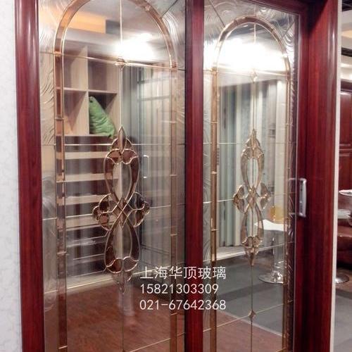 中空銅條鑲嵌玻璃/實木門玻璃/移門玻璃