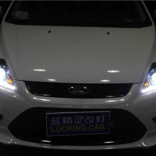 长沙福克斯改车灯大灯改装海拉五透镜欧司朗氙气大灯福克斯改灯车灯改装蓝精灵改灯