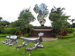 湖南公园大型太湖石不锈钢雕塑