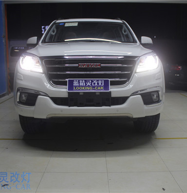 哈弗H9改装大灯 上海汽车灯光改装 蓝精灵改装氙气灯 南通改装车灯