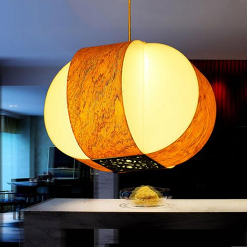 東南亞風格亞克力+木皮吊燈DED008