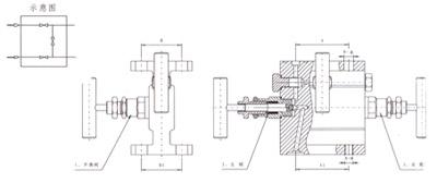 1151法兰式三阀组结构示意图