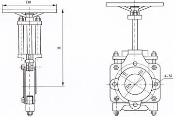 ZT9928手动浆料闸阀结构示意图