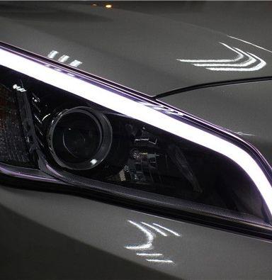 现代索纳塔九代改全新海拉6双光透镜飞利浦氙气大灯LED日行灯眉