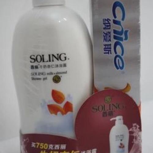 西麗牛奶杏仁沐浴露 750克送納愛斯營養維C牙膏 160克