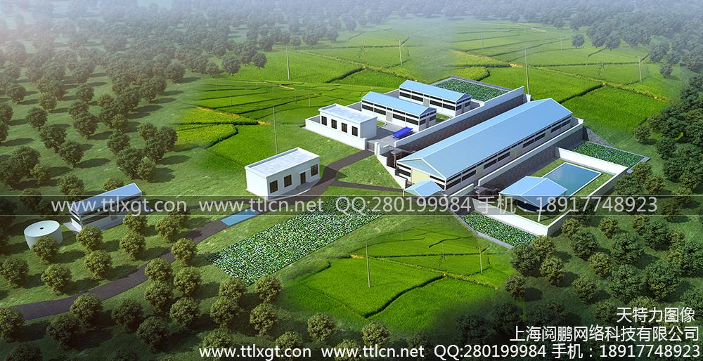养猪场厂房厂区鸟瞰图设计制