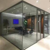 单层磨砂黑钢化玻璃隔断墙
