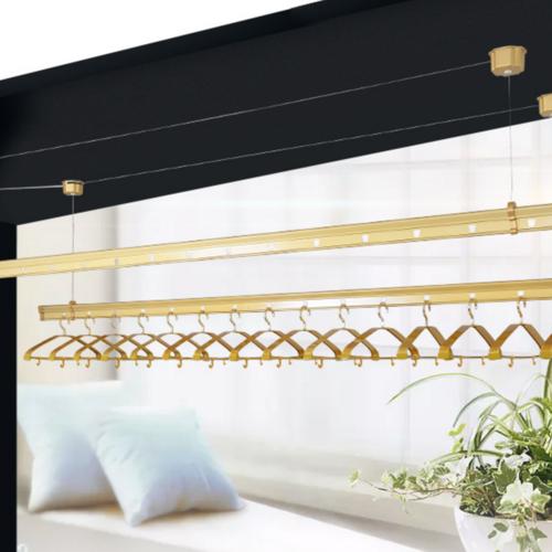 晾衣架升降手摇阳台晒被架家用双杆式加厚铝合金晾衣杆