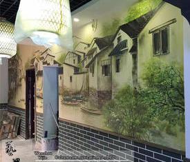 江南水乡餐厅画
