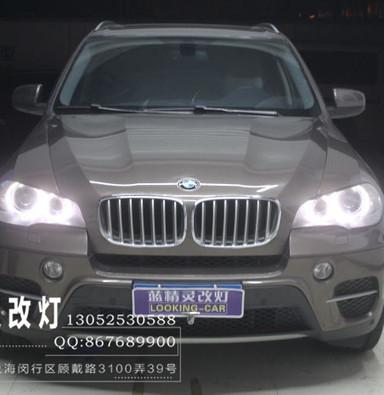 宝马X5改蓝定制双光透镜  欧司朗D1CBI灯泡  上海氙气灯改装
