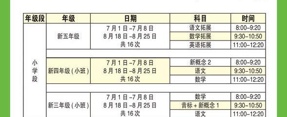 2020 振强教育暑期课程时间安排!