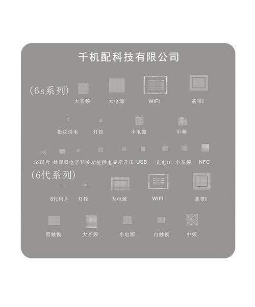 千机配 日本钢网6代 6S 电源 充电 灯控 指纹IC 激光开孔 植锡网