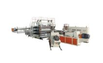 Wide plastic flooring, waterproofing materials production line