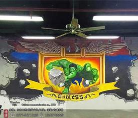 洞头健身房3D绿巨人墙绘