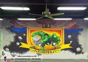 洞頭健身房3D綠巨人墻繪