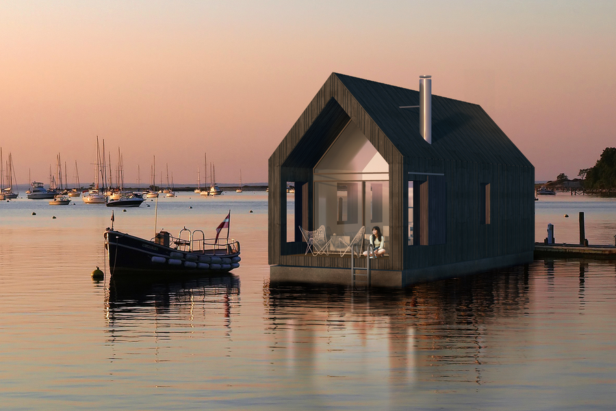 漂浮在水上的模塊小建筑