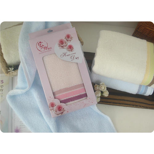 素色三格段高档毛巾