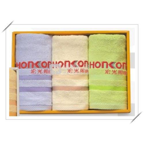 素色三线段毛巾三件套