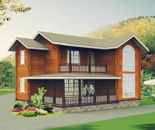 SYM024, the wooden structure housing four Sanshiliangting double cabin house with a balcony