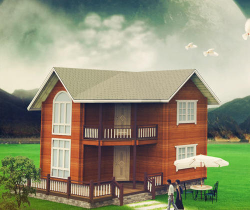SYM031, heavy wooden wooden houses light wood structure housing 96 square meters house
