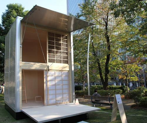 An aluminum shack in a temporary building of Muji