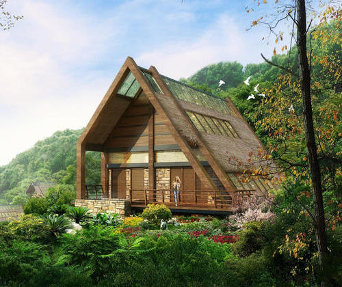 SYG003, steel structure building two bedroom modern hot spring
