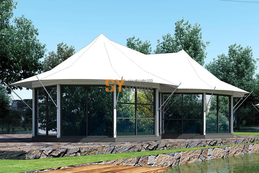 轻钢主体 双八边形 帐篷房 酒店式套房布局