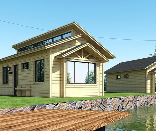 SYG032, double slope village style residential light steel structure housing the cabin can accommodate 4 people room two