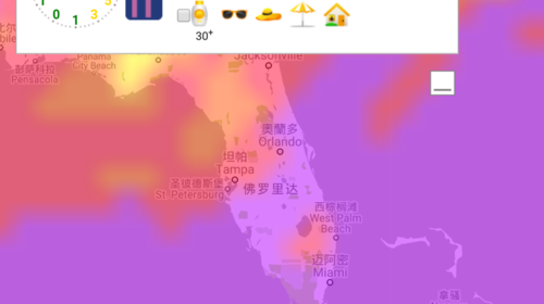2017.08月美国佛罗里达州和亚利桑那州紫外线强度分布图谱及说明