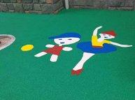环保型EPDM塑胶卡通地坪! 适用场所:幼儿园、学校、小区、公园、健身地面!