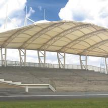 广西体育看台膜结构已经完工,奥鼎膜结构厂家、张拉式膜结构工程设计