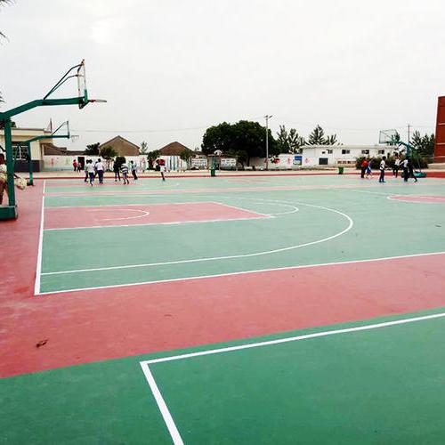 上海采红体育球场施工案例—定远五中场地
