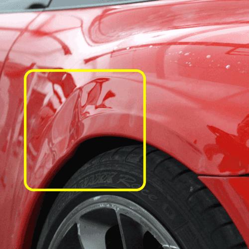 神车200码撞车后叶子板凹陷修复