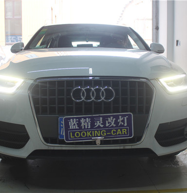 奥迪q3改车灯 低配升级高配大灯总成 上海蓝精灵改车灯 氙气大灯改装安装双光透镜闵行改灯
