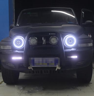 全国首台双龙柯兰顿改车灯上海蓝精灵改装双光透镜氙气大灯