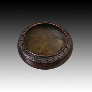 石园斋珍玩款铜钵