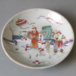 清晚期 青釉粉彩人物盤