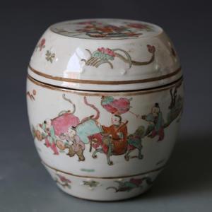 民國 粉彩鼓式罐