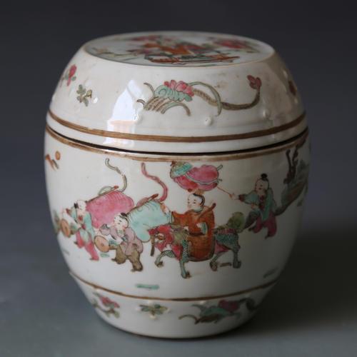 民国 粉彩鼓式罐