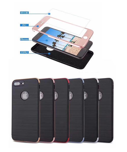 适用 三星Note8手机壳 S7edge S8 S8Plus 360全包保护防摔壳 拉丝TPU+PC+钢化膜 保护套外壳