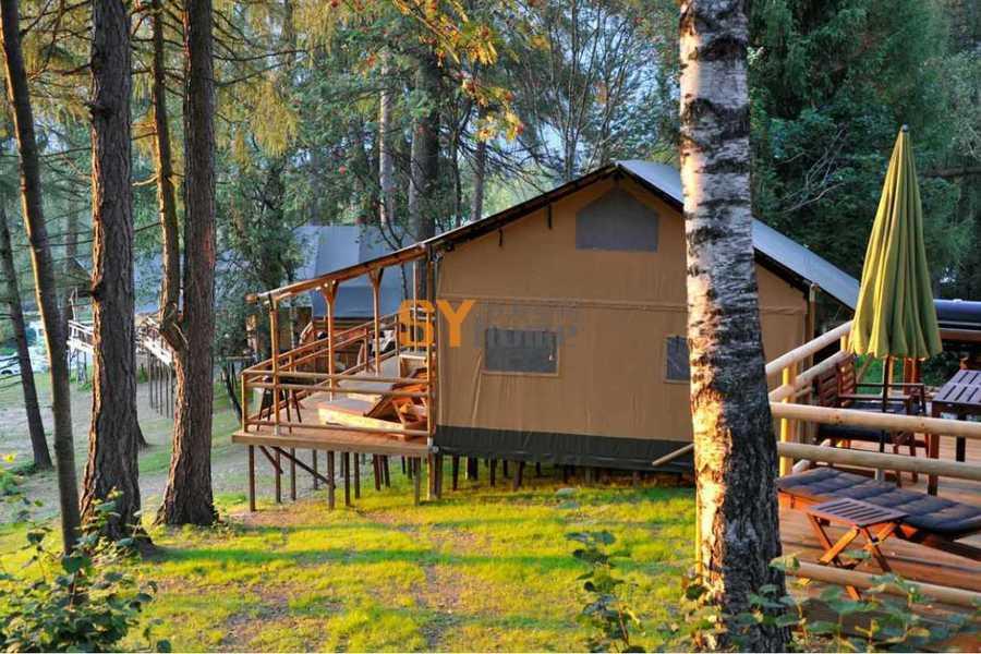 营地木制奢华帐篷,给你一个最生态最美妙的野营体验