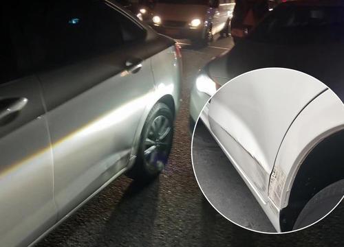 汽车刮蹭形成的严重凹陷