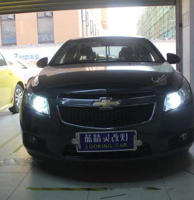 雪佛兰科鲁兹车灯改装海拉5双光透镜蓝定制氙气大灯