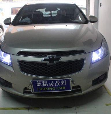 雪佛兰科鲁兹车灯改装蓝定制海拉5双光透镜蓝定制氙气大灯加白色天使眼