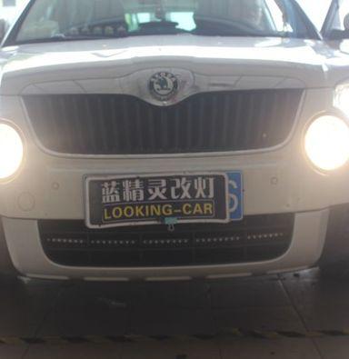 斯柯达野帝车灯改装海拉5透镜欧司朗氙气大灯