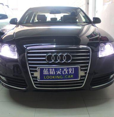 上海奥迪A6L改车灯氙明透镜欧司朗氙气大灯